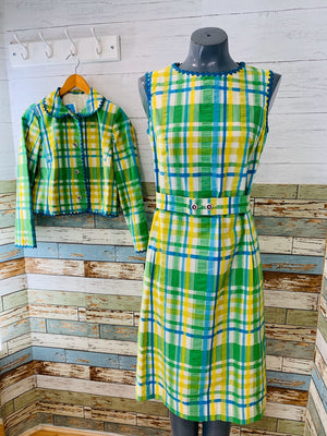 60's Green Plaid with Belt Set Dress - Hamlets Vintage