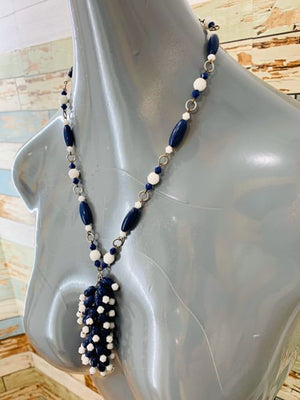 70s Bead Mix White, Navy Necklace - Hamlets Vintage
