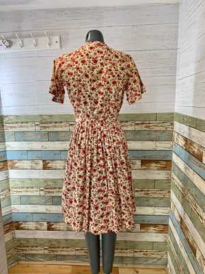 60s Short Sleeve Flower Day Dress With Pleated Full Skirt