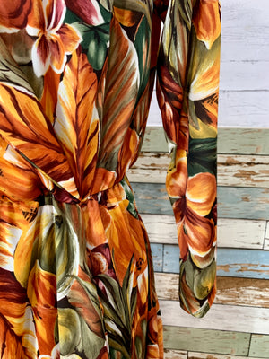 80s Tropical Flower Print Wrap Dress