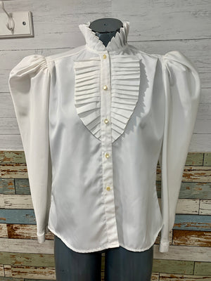 80s Ruffle High Neck Blouse