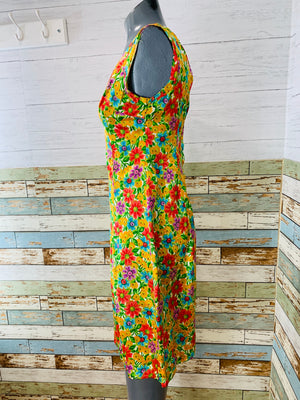 60s Silk Floral Print 3 Piece Dress Set With Hat
