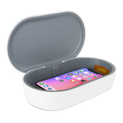 UV Light Stealiser Box open with iPhone inside