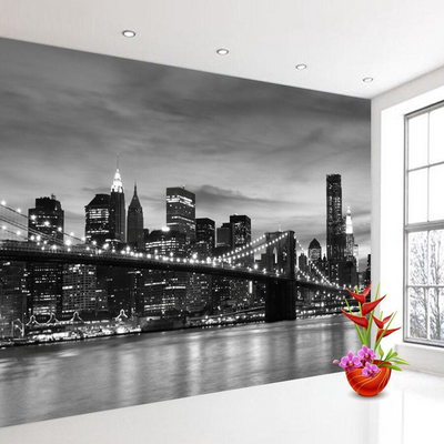 Papier Peint New York <br> City Noir et Blanc