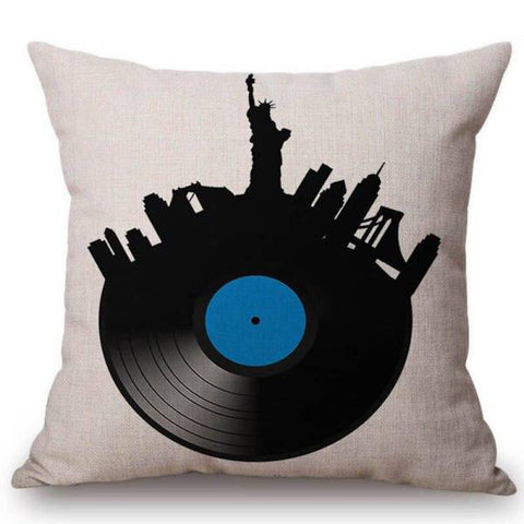 Coussin New York Disque Vinyle | NYC Shop