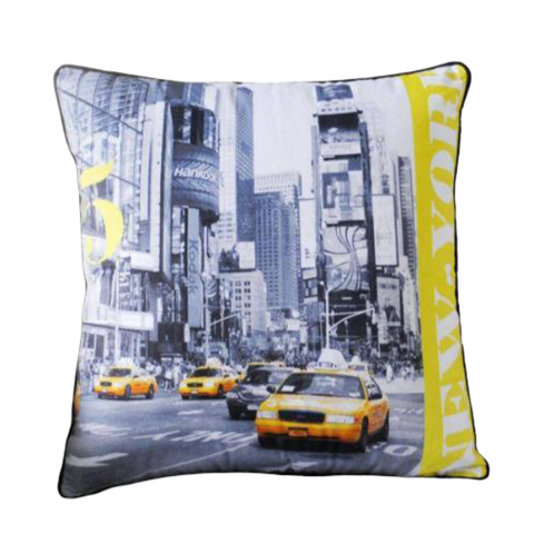 Coussin New York Times Square Taxi Jaune