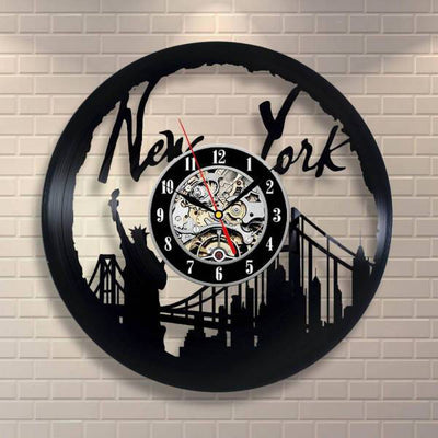Horloge New York Disque en Vinyle | NYC Shop