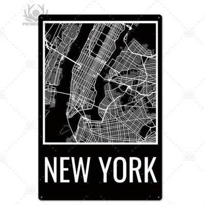 Panneau Carte de New York | NYC Shop