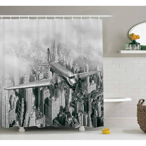 Rideau New York Avion survolant la ville | NYC Shop