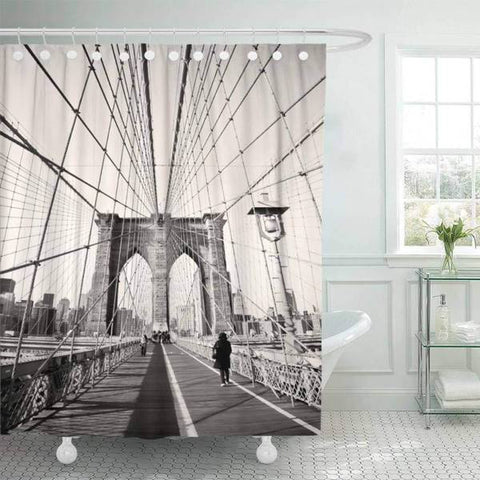 Rideau New York Pont de Brooklyn Noir et Blanc | NYC Shop