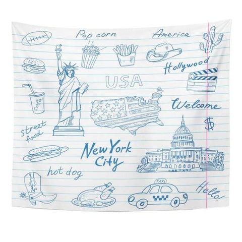 Tapisserie New York Symboles Américains | NYC Shop