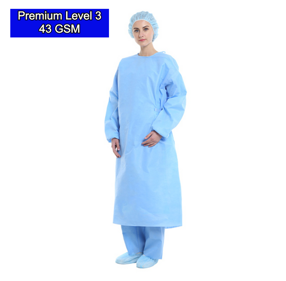 Blue Color SSMMS Nonwoven 45 GSM Isolation Gown (Level 3) Disposable