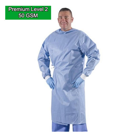 Isolation Gown (Level 2) 50 GSM SMS Nonwoven Disposable