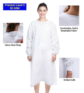 - SALE - Premium Disposable Isolation Gown (Level 3) SMS Nonwoven 50 GSM