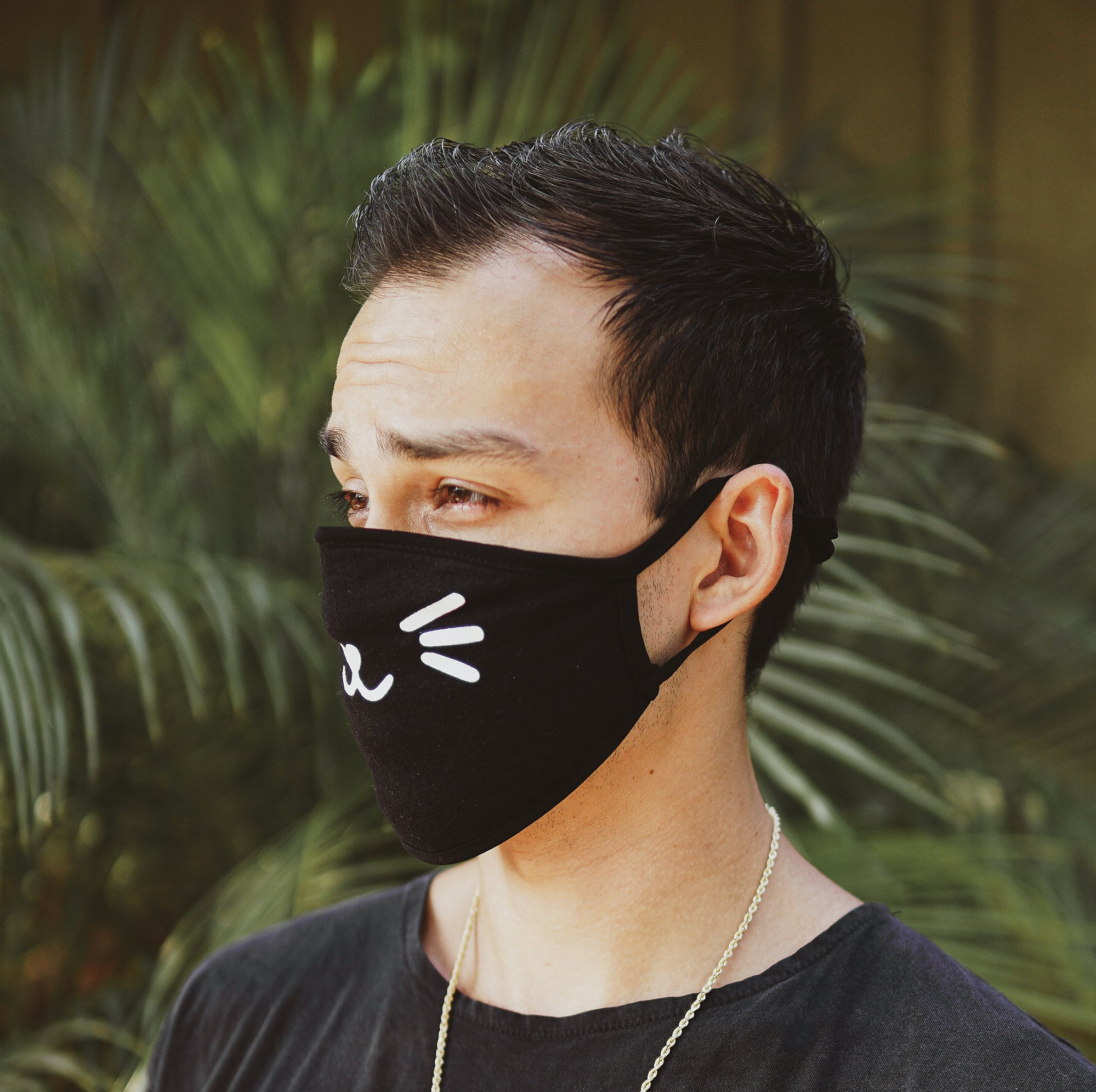 Cat Whiskers Black Mask with Filter Pocket (Adult)