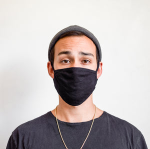 Double Layer Cotton Black Face Mask (Young Adult/Adult Small)