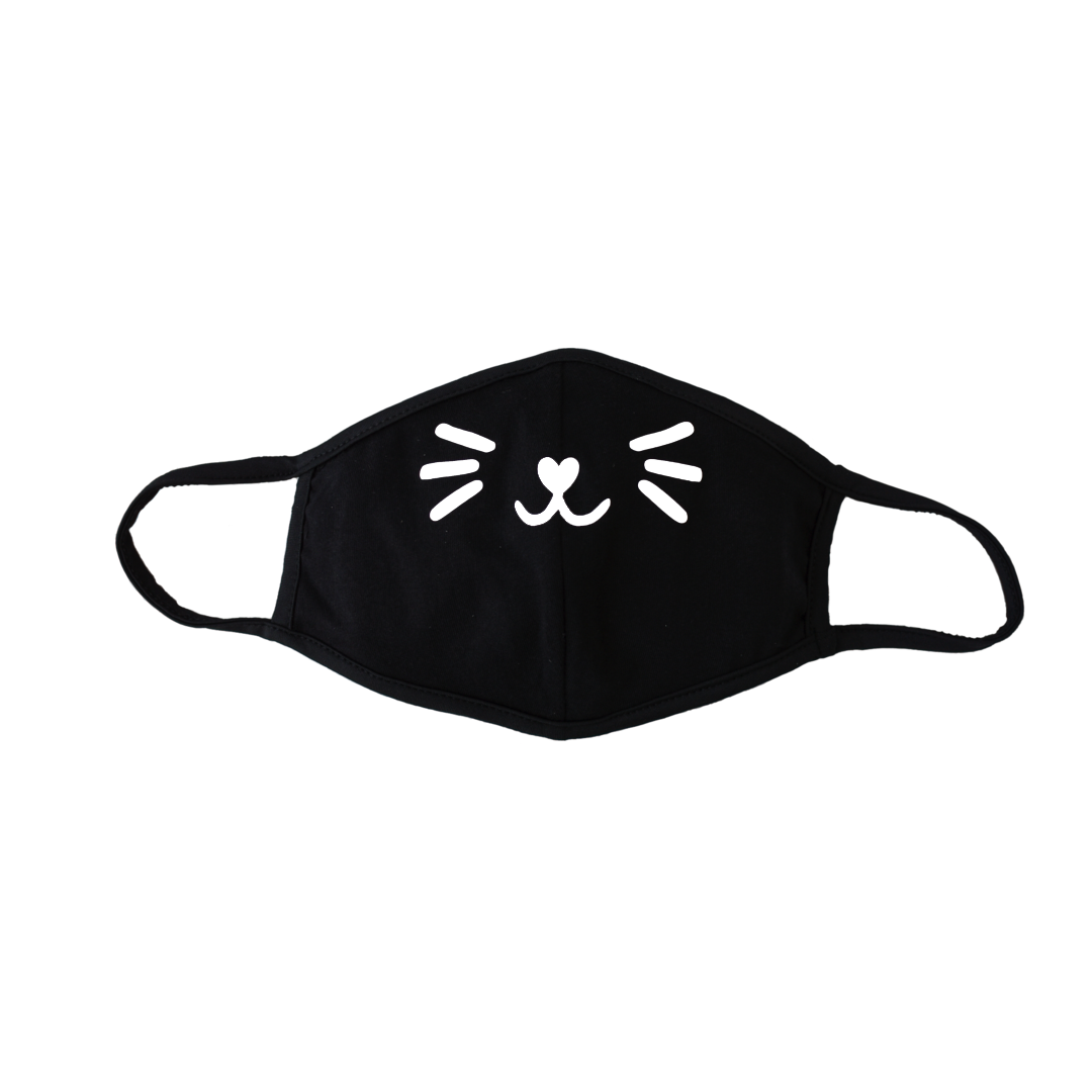 Kids Cat Whiskers Black Mask (with Filter Pocket)