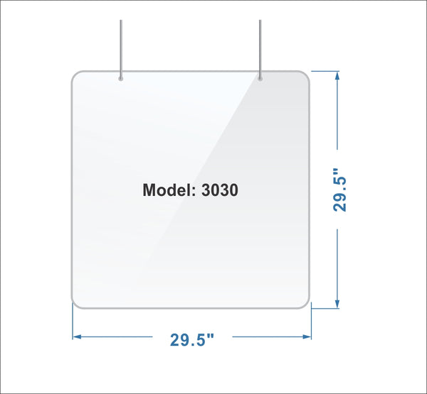 H3030/3mm - Sneeze Guard - Cough Protective Plexiglas Shield