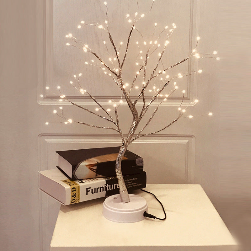 LED USB Fire Tree Light Copper Wire Table Lamps Night Light - alltakeit
