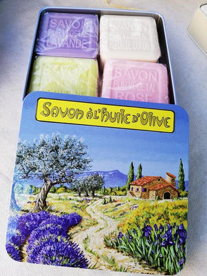 Open image in slideshow, Set of 4 Olive Oil soaps in Tin