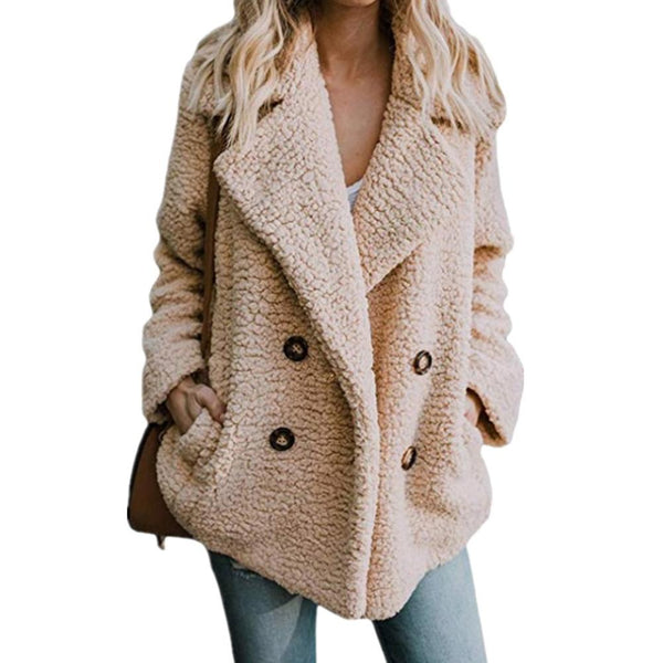 Women Fashion Button Lapel Winter Warm Coat