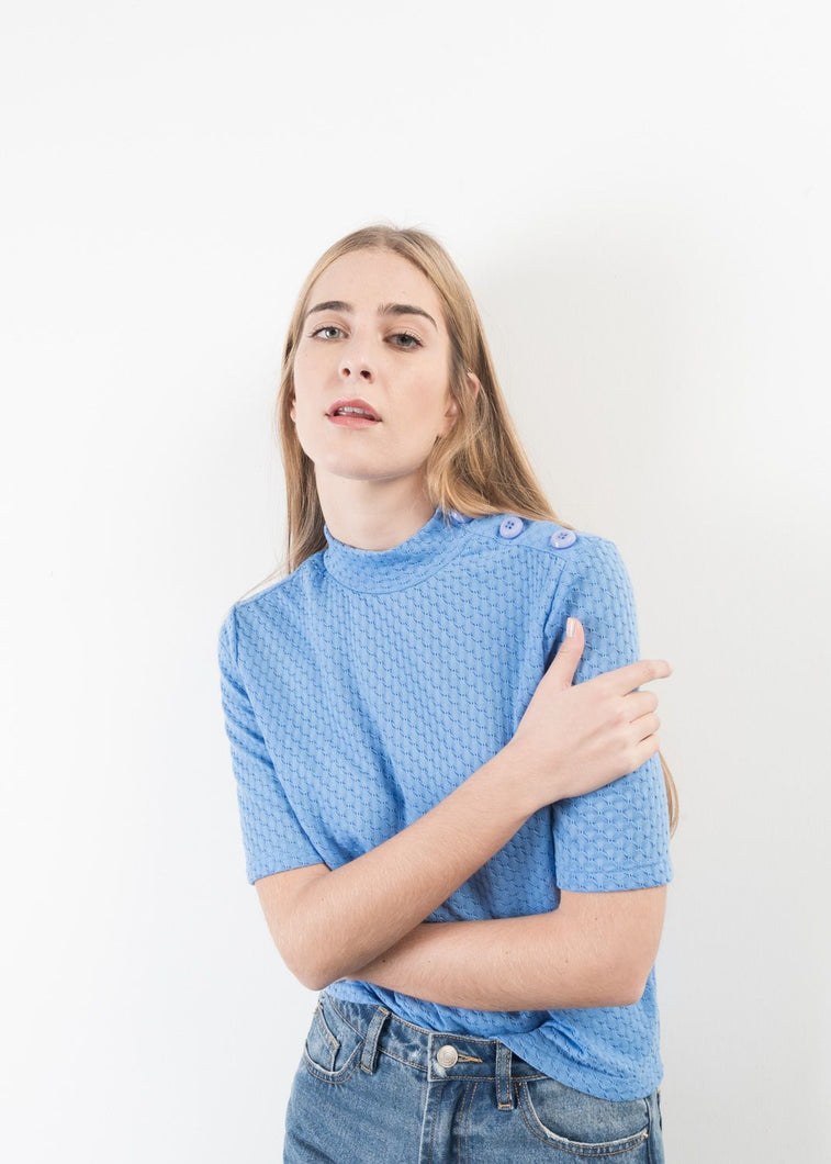 JERSEY LOW TURTLENECK BABY BLUE TOP by royalbee.uk