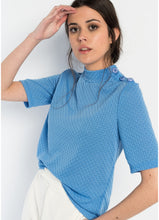 Load image into Gallery viewer, JERSEY LOW TURTLENECK BABY BLUE TOP by royalbee.uk