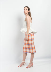 CHECK MIDI SKIRT - royalbee.uk
