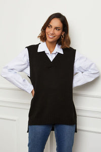 V-NECK JUMPER IN BLACK by royalbee.uk