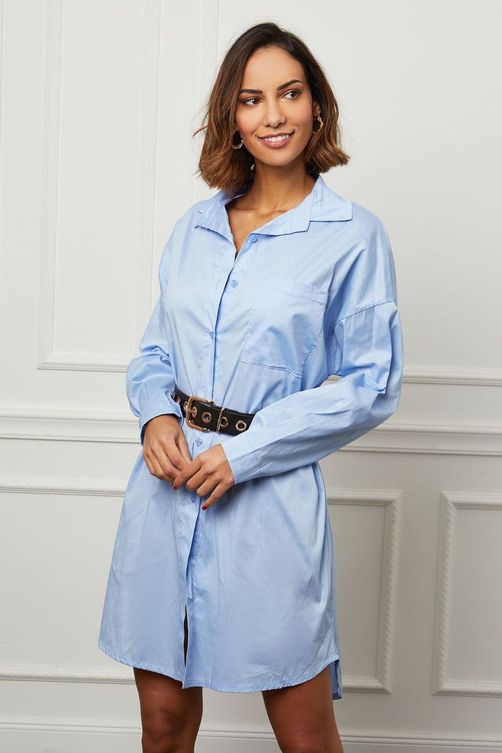 SHORT SHIRT-DRESS IN BLUE by royalbee.uk