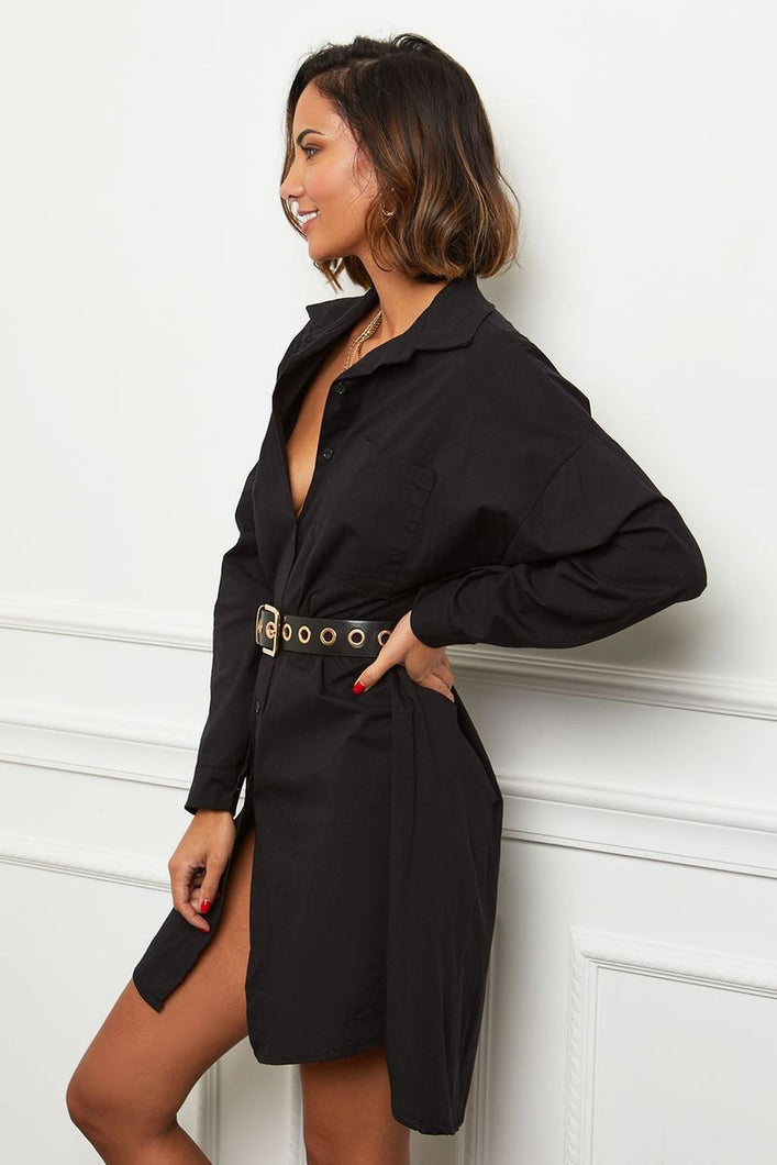 SHORT SHIRT-DRESS IN BLACK by royalbee.uk