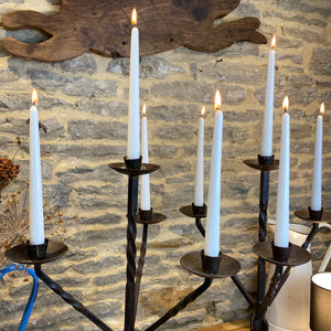 French hand forged pair of candelabras