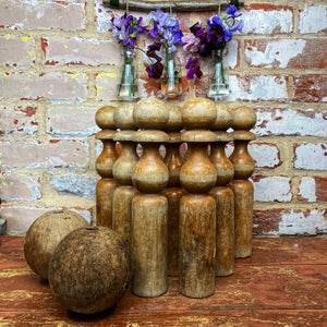 French vintage wooden skittles and 2 balls