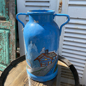 French painted milk churn