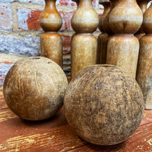 Load image into Gallery viewer, French vintage wooden skittles and 2 balls