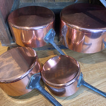 Load image into Gallery viewer, French antique copper pans set of 5 pans medium gauge set