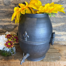 Load image into Gallery viewer, French pewter urn with decorative tap and fleur de lis design