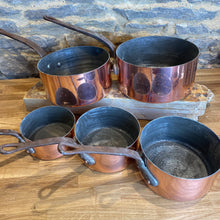 Load image into Gallery viewer, French antique stamped copper pans set of 5 pans gauge set with hammered bottom