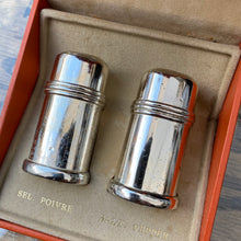 Load image into Gallery viewer, French small plated salt and pepper pots boxed