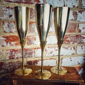 French metal plated set of 6 champagne goblets