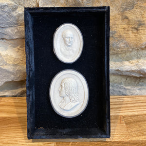 Lovely plaster relief in a velvet boxed frame