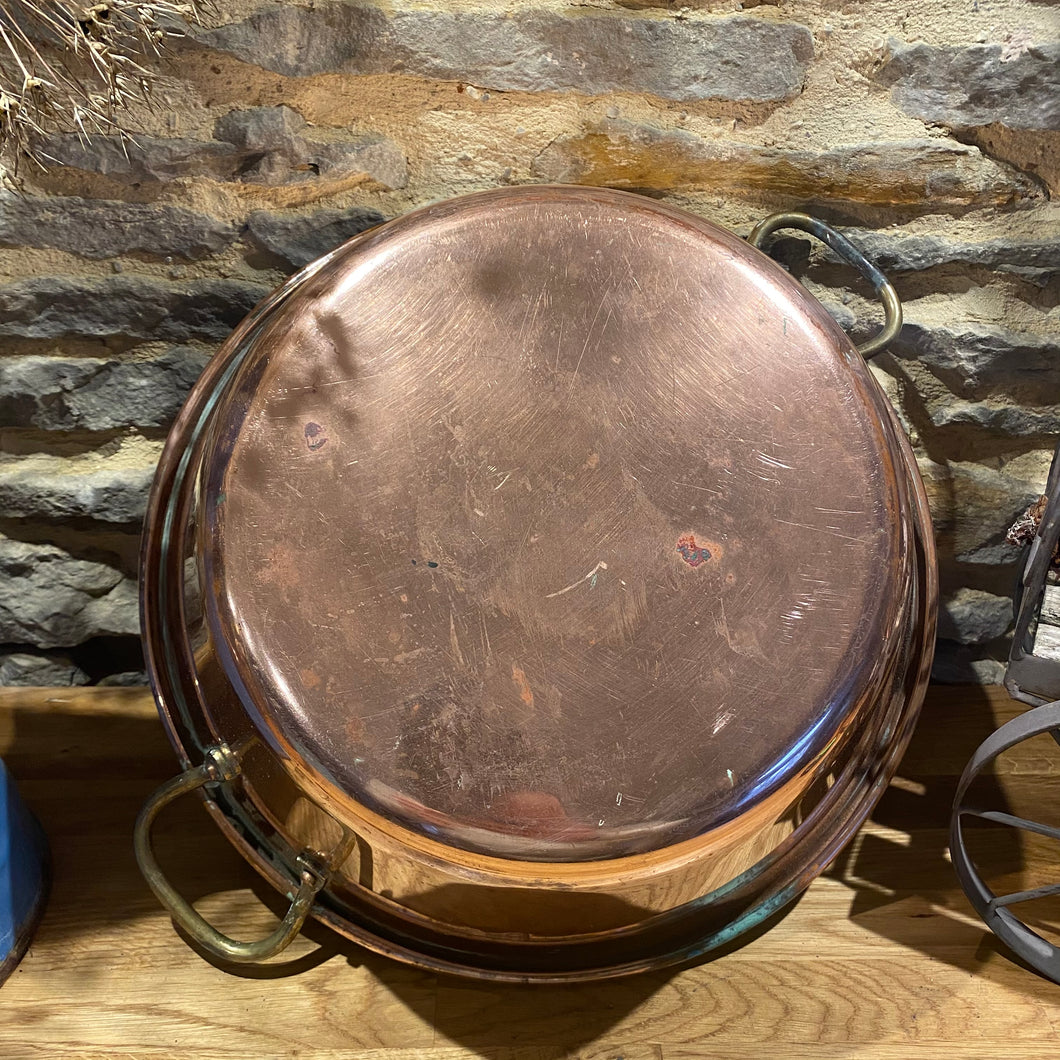French vintage copper jam pan