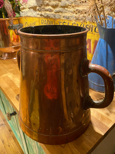 French double handled copper measuring pot