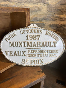 French agricultural metal plaque