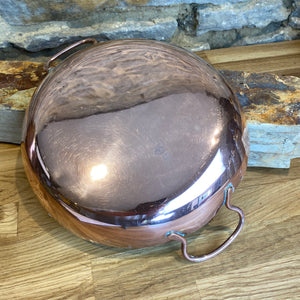 French stamped double handle cassolette copper pan