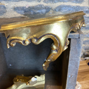 Gilt decorative corner shelf x2