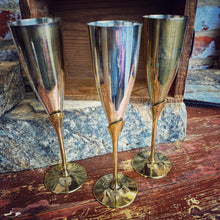 Load image into Gallery viewer, French metal plated set of 6 champagne goblets