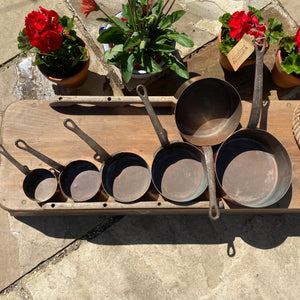 French antique copper pans set of 6