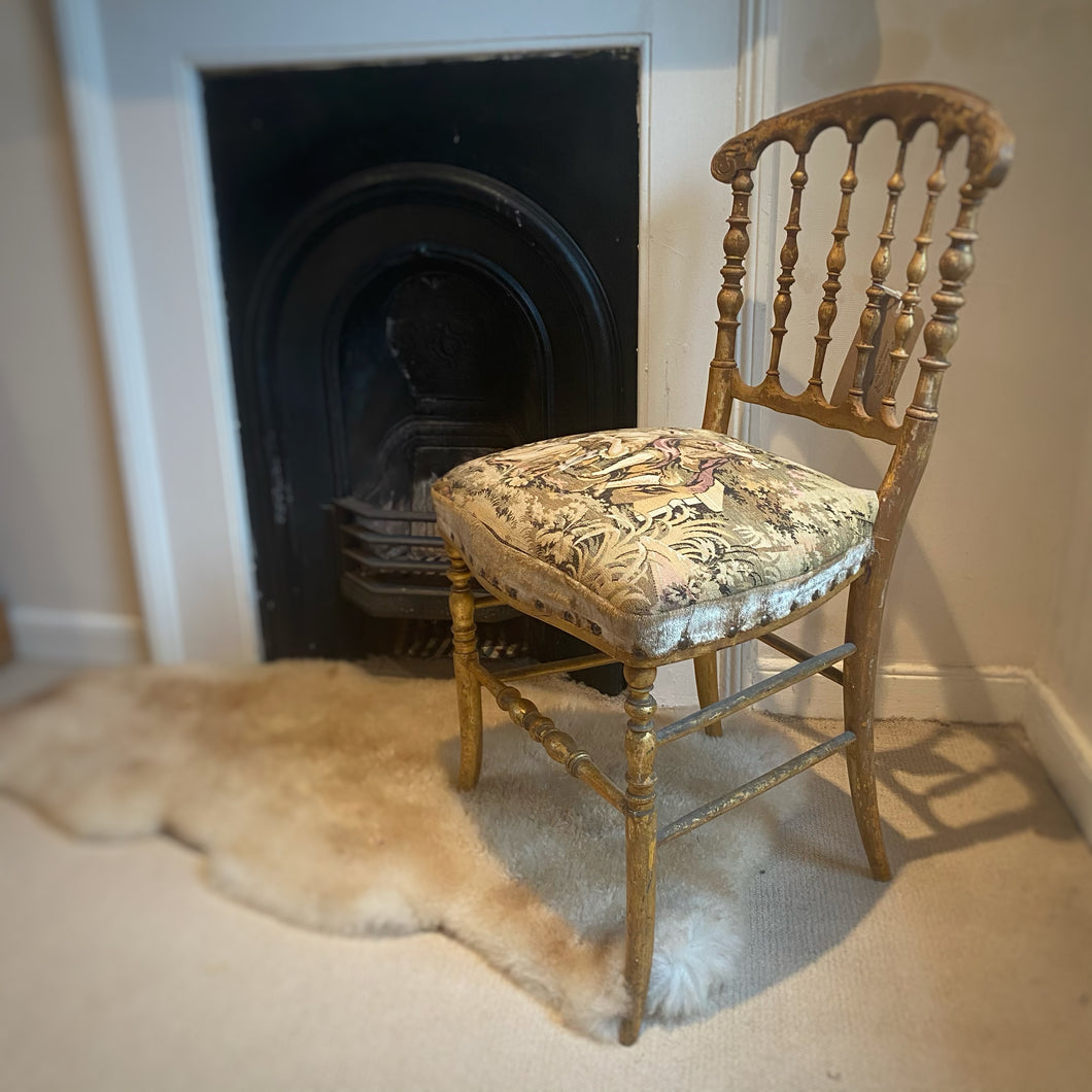 French bedroom gilt chair embroidered seat