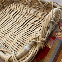 Load image into Gallery viewer, French shallow wicker/faux basket double handle